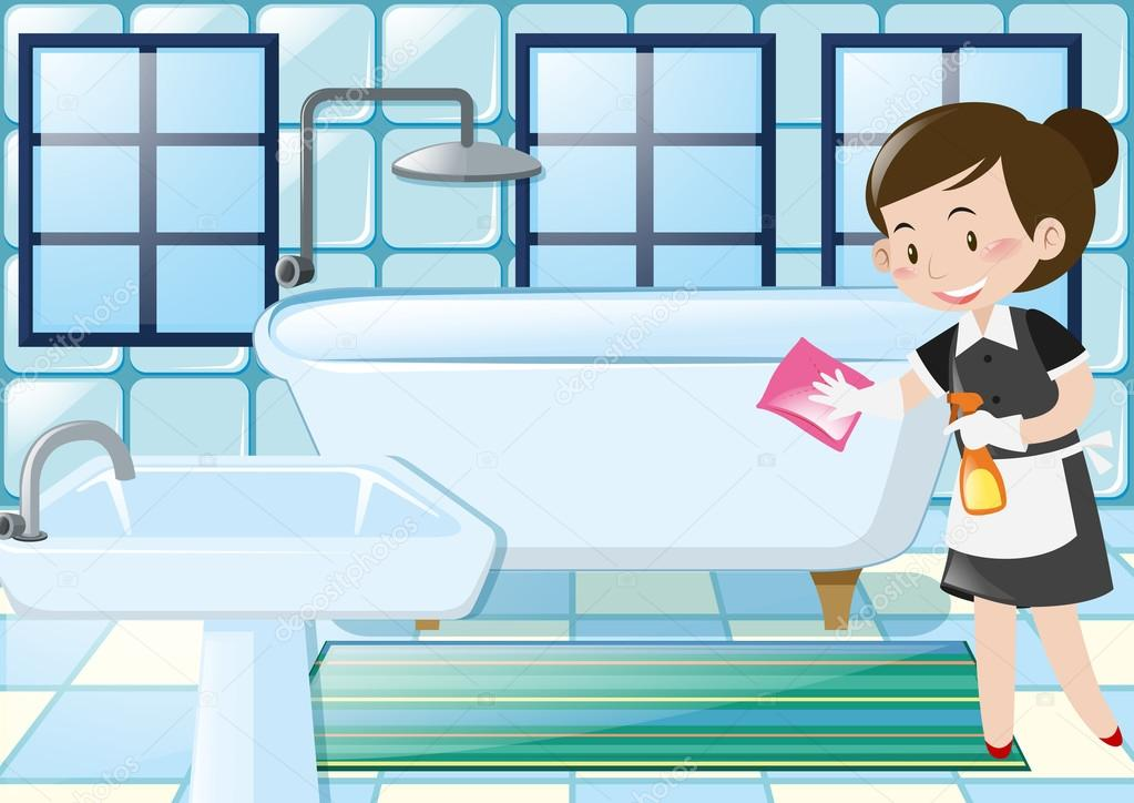 Femme de m nage nettoyer baignoire dans la salle de bain - Nettoyer moisissure salle de bain ...