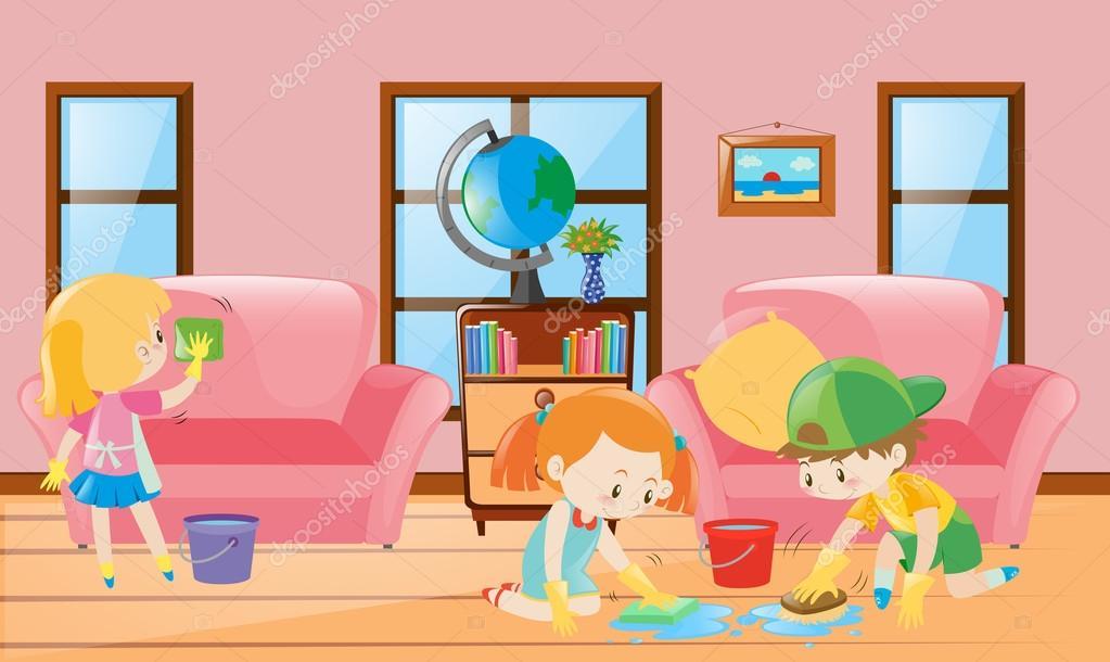 Three children cleaning living room — Stock Vector © brgfx #127234090