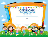 Certificate template with children and school bus