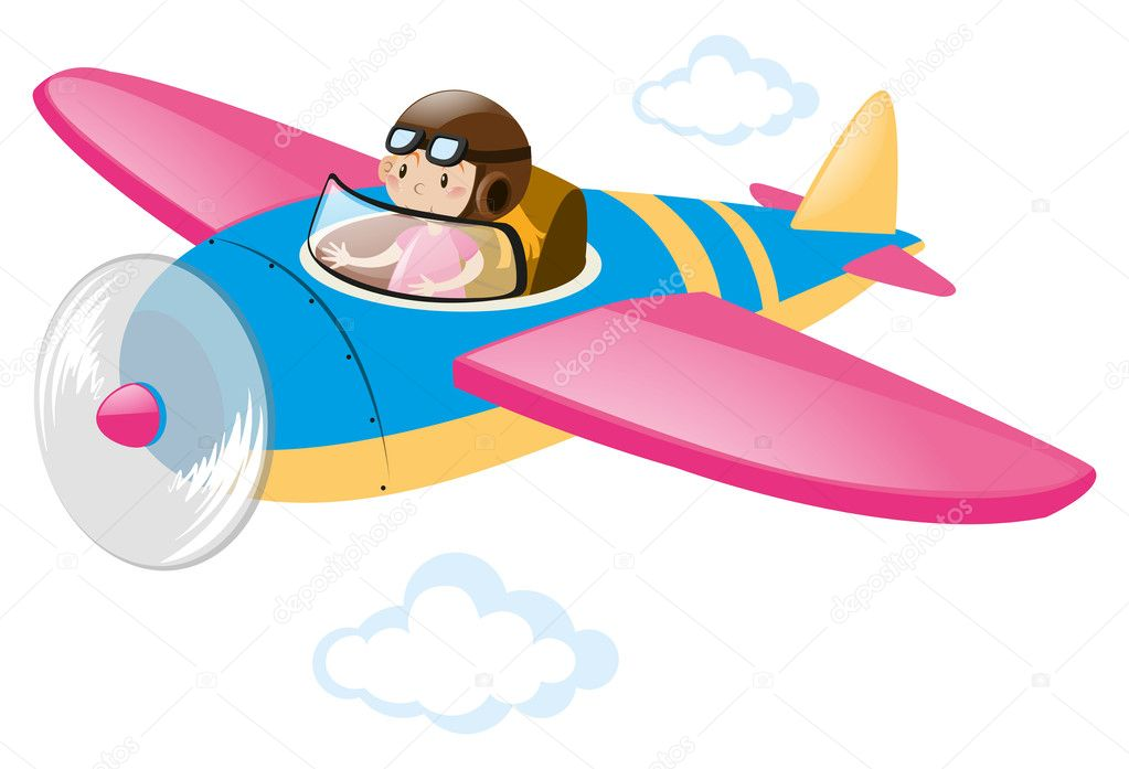 Pilot Flying In Colorful Airplane Stock Vector C Brgfx 128564830