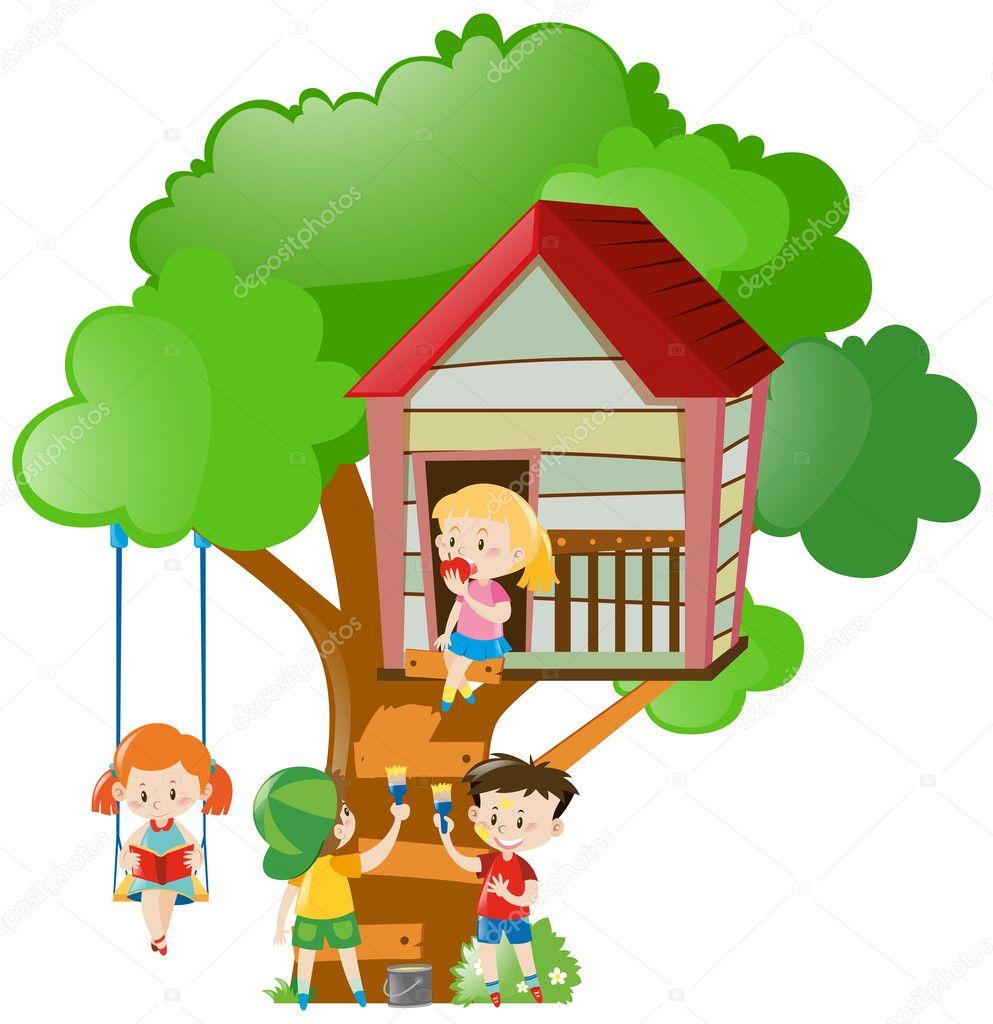 Kinder Spielen Und Malen Baumhaus Stockvektor C Brgfx 128565312