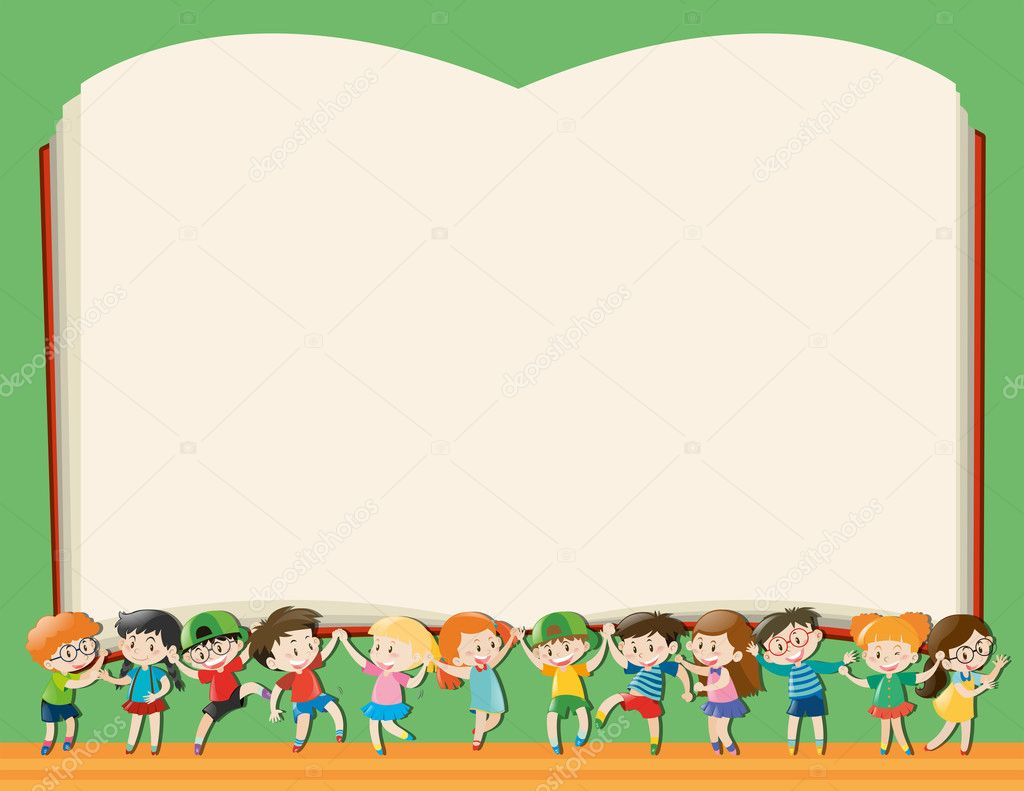 background template with kids holding big book u2014 stock vector