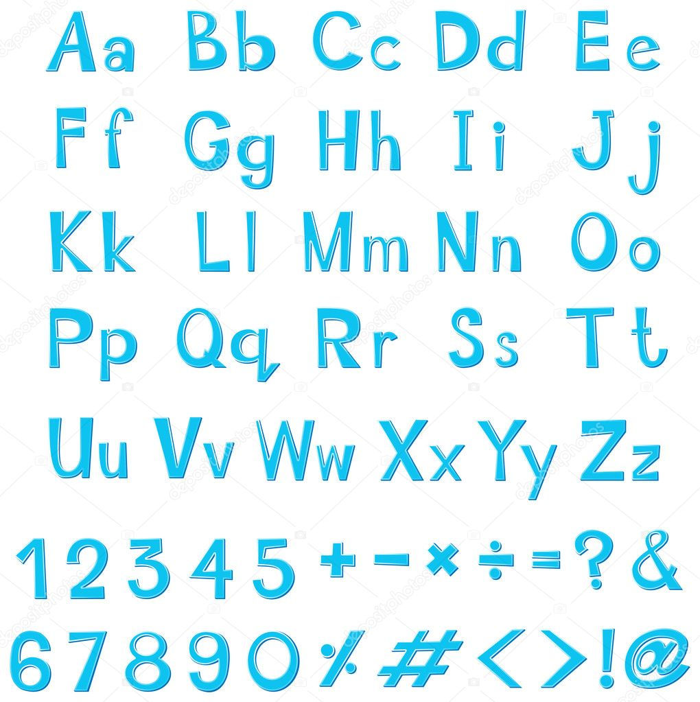 Font design for english alphabets in blue — Stock Vector