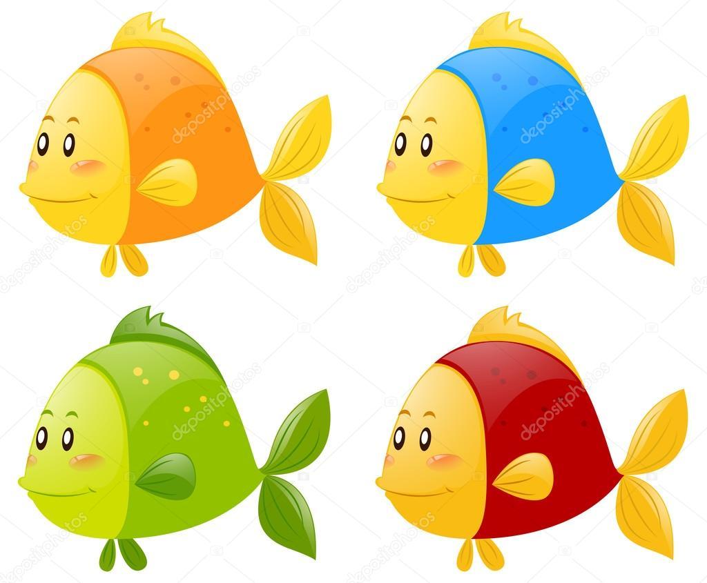 Fisch in vier verschiedenen Farben — Stockvektor © brgfx #128565858