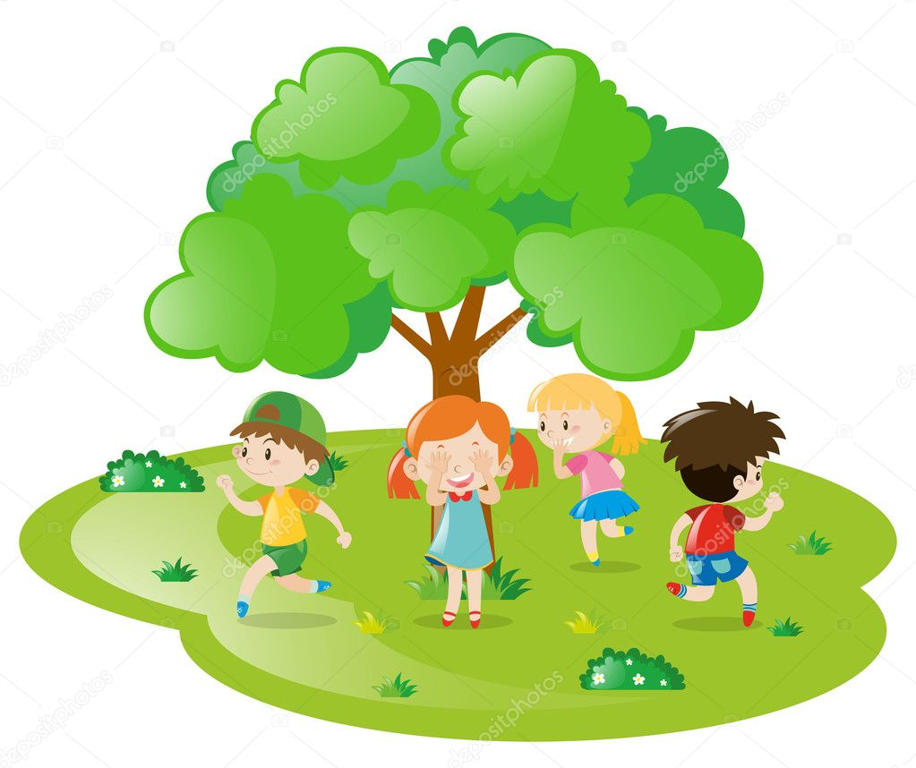 kids playing hide and seek in the park � stock vector