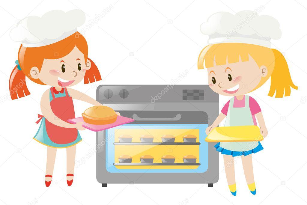Zwei Madchen Backen Kuchen Im Ofen Stockvektor C Brgfx 128567466