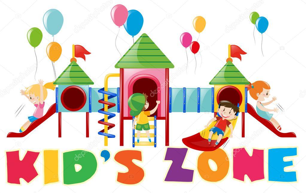 Disegno Del Manifesto Con I Bambini Al Parco Giochi Per Bambini