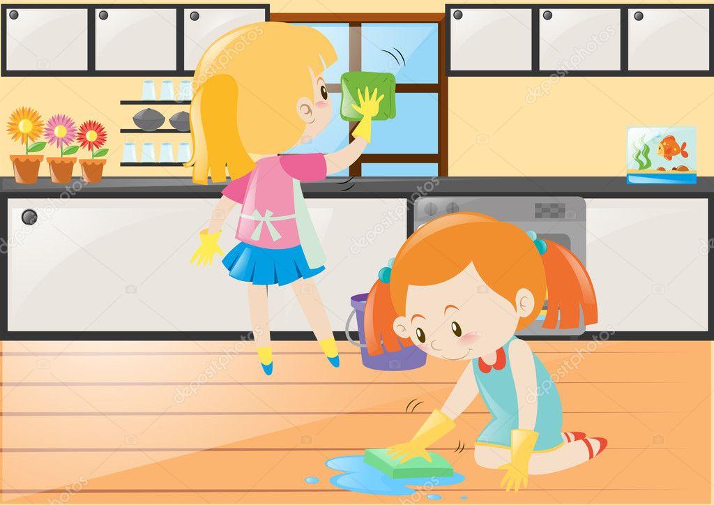 Dos chicas de limpieza de cocina y piso archivo im genes - Limpieza de cocina ...