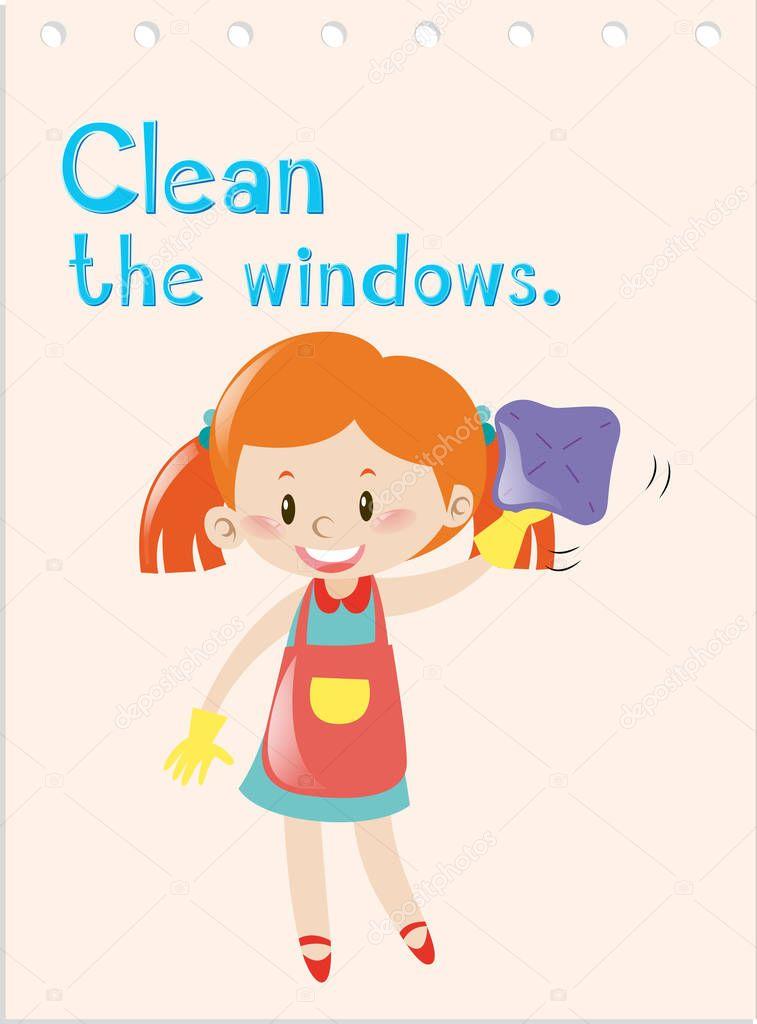 Flashcard de verbo de acción con chica limpiar windows — Archivo ...