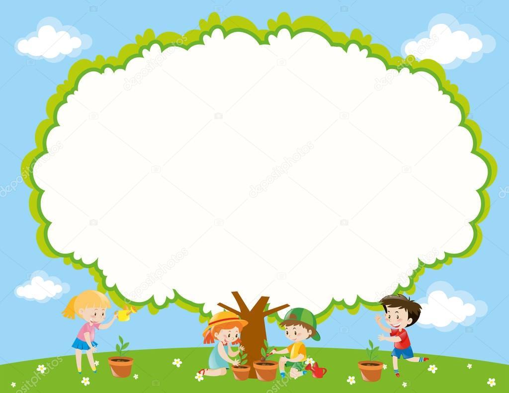Plantilla de marco con plantación de árbol en el jardín de niños ...