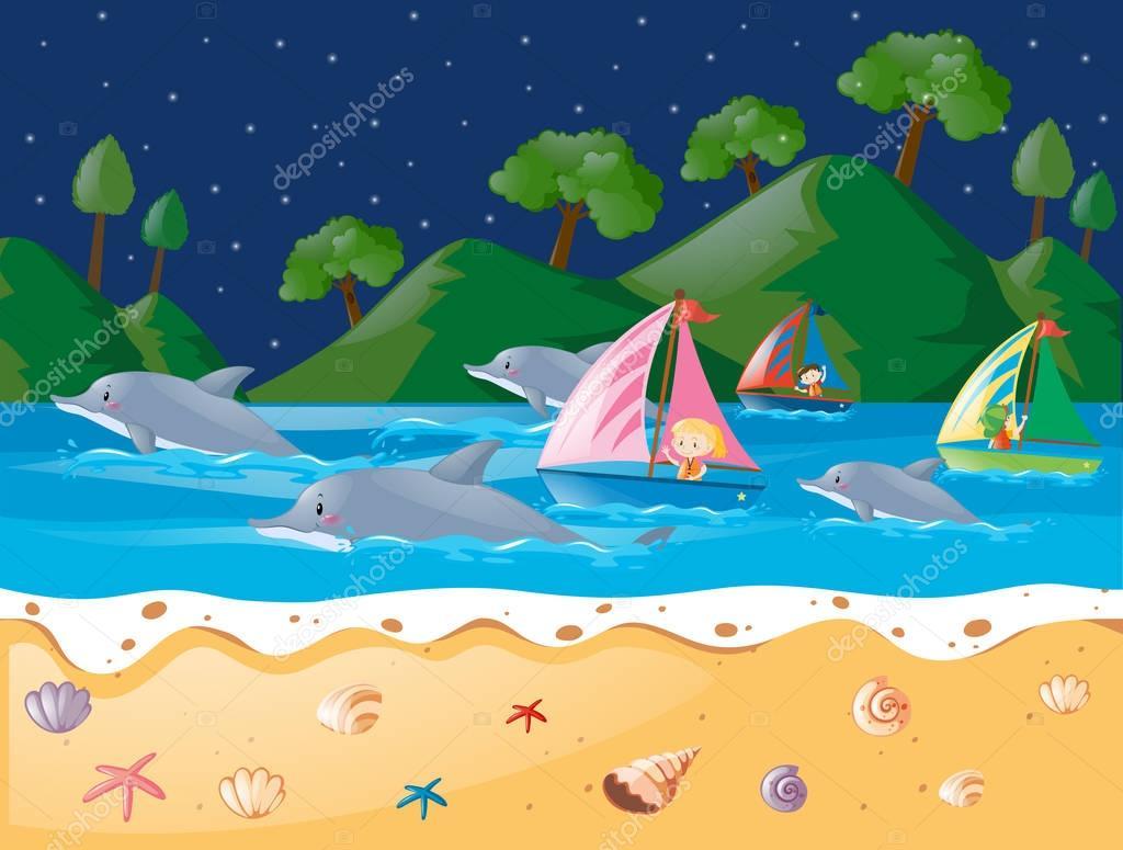 Escena de mar con delfines y veleros — Archivo Imágenes Vectoriales ...
