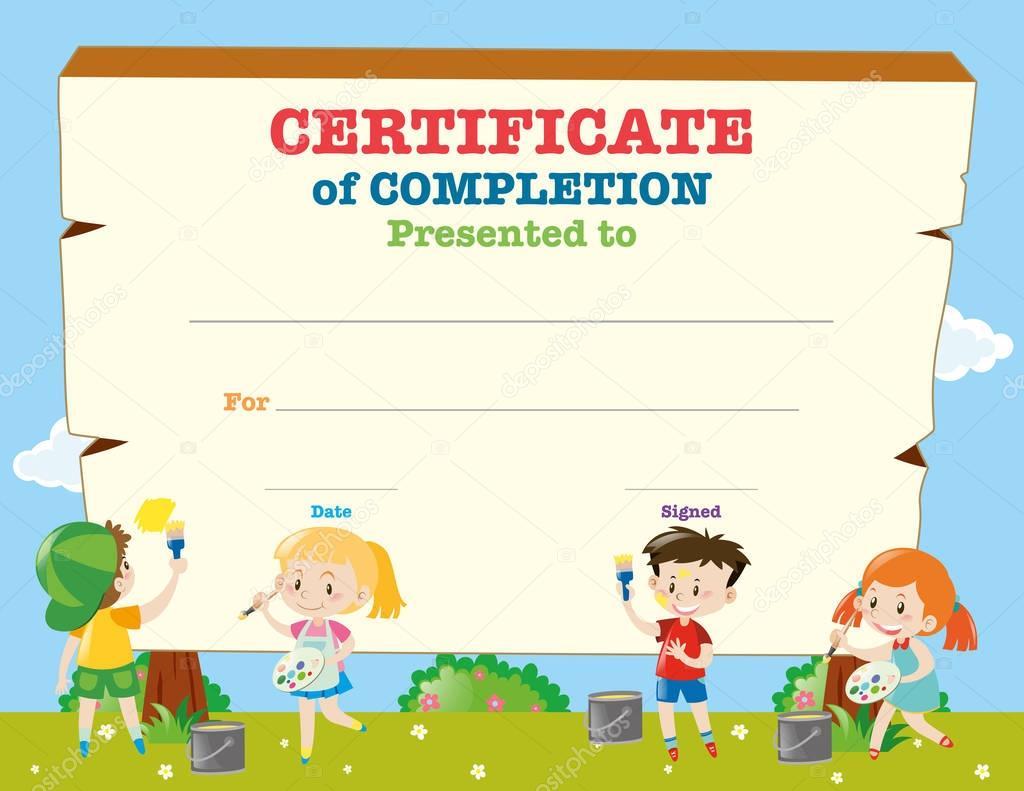 Zertifikat-Vorlage mit glücklichen Kindern — Stockvektor © brgfx ...