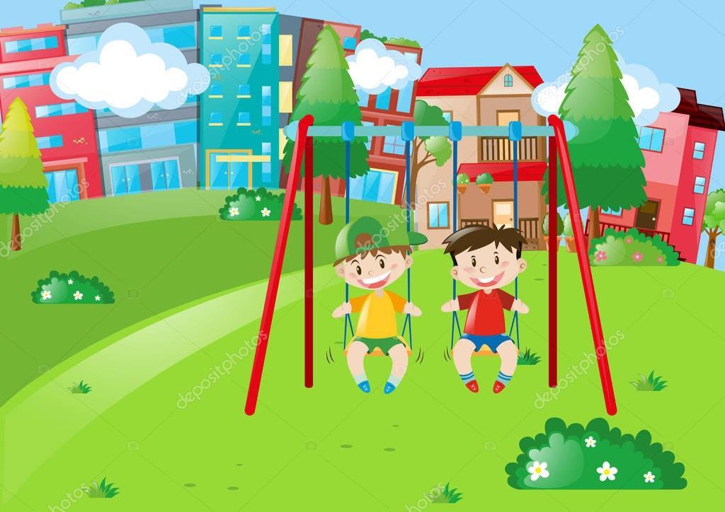 Dos niños jugando en los columpios en el Parque — Vector de stock ...