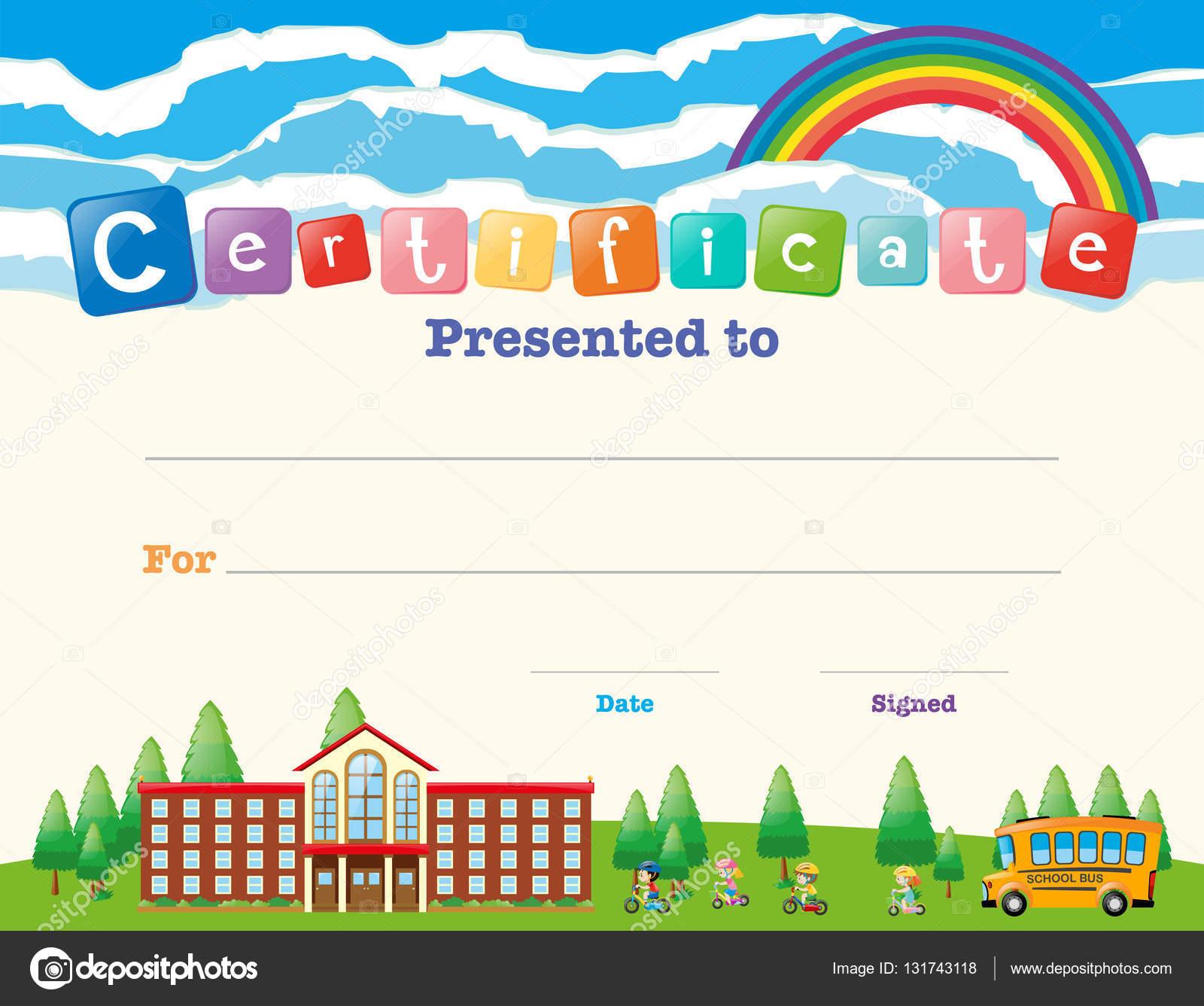 Zertifikat-Vorlage mit Kindern in der Schule — Stockvektor © brgfx ...