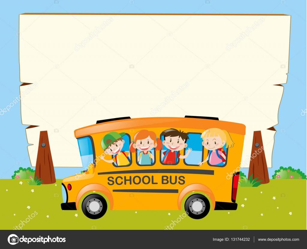 Grenze-Vorlage mit Kindern auf dem bus — Stockvektor © brgfx ...