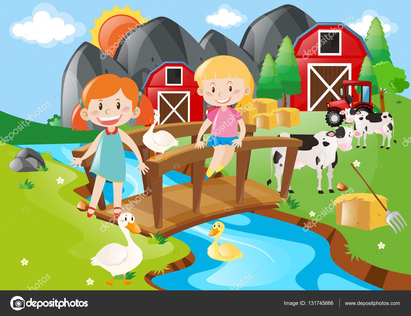 2 つの女の子と川の動物 — ストックベクター © brgfx #131745666