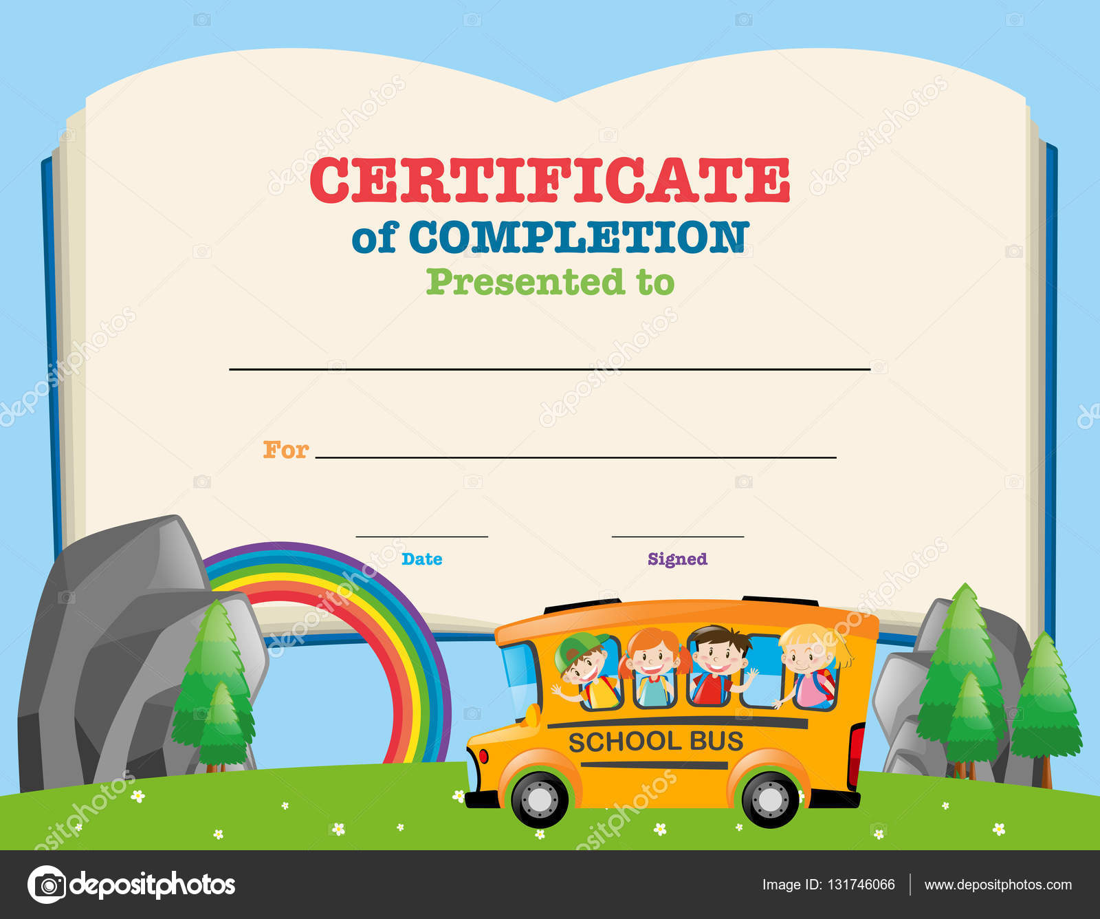 Zertifikat-Vorlage mit Kindern auf Schulbus — Stockvektor © brgfx ...