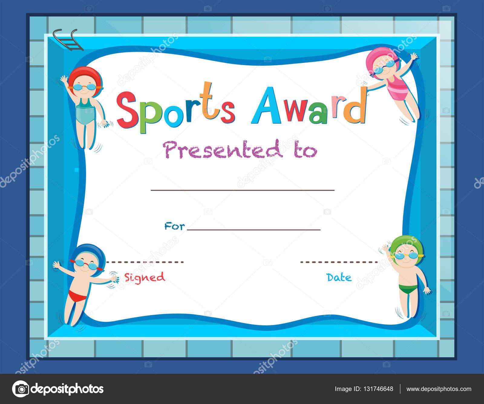 Zertifikat-Vorlage mit Kindern schwimmen — Stockvektor © brgfx ...
