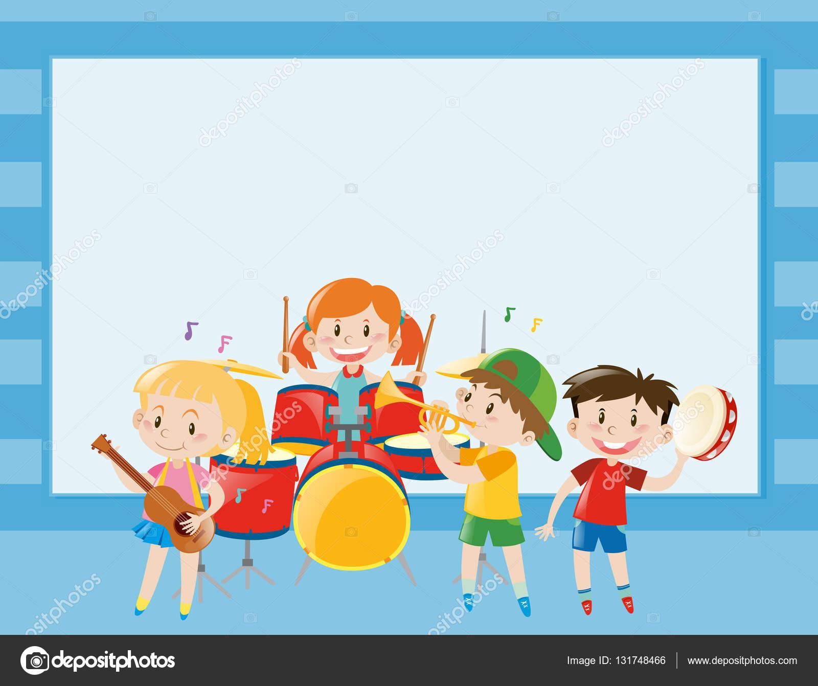 Grenze-Vorlage mit Kindern Musizieren im band — Stockvektor ...