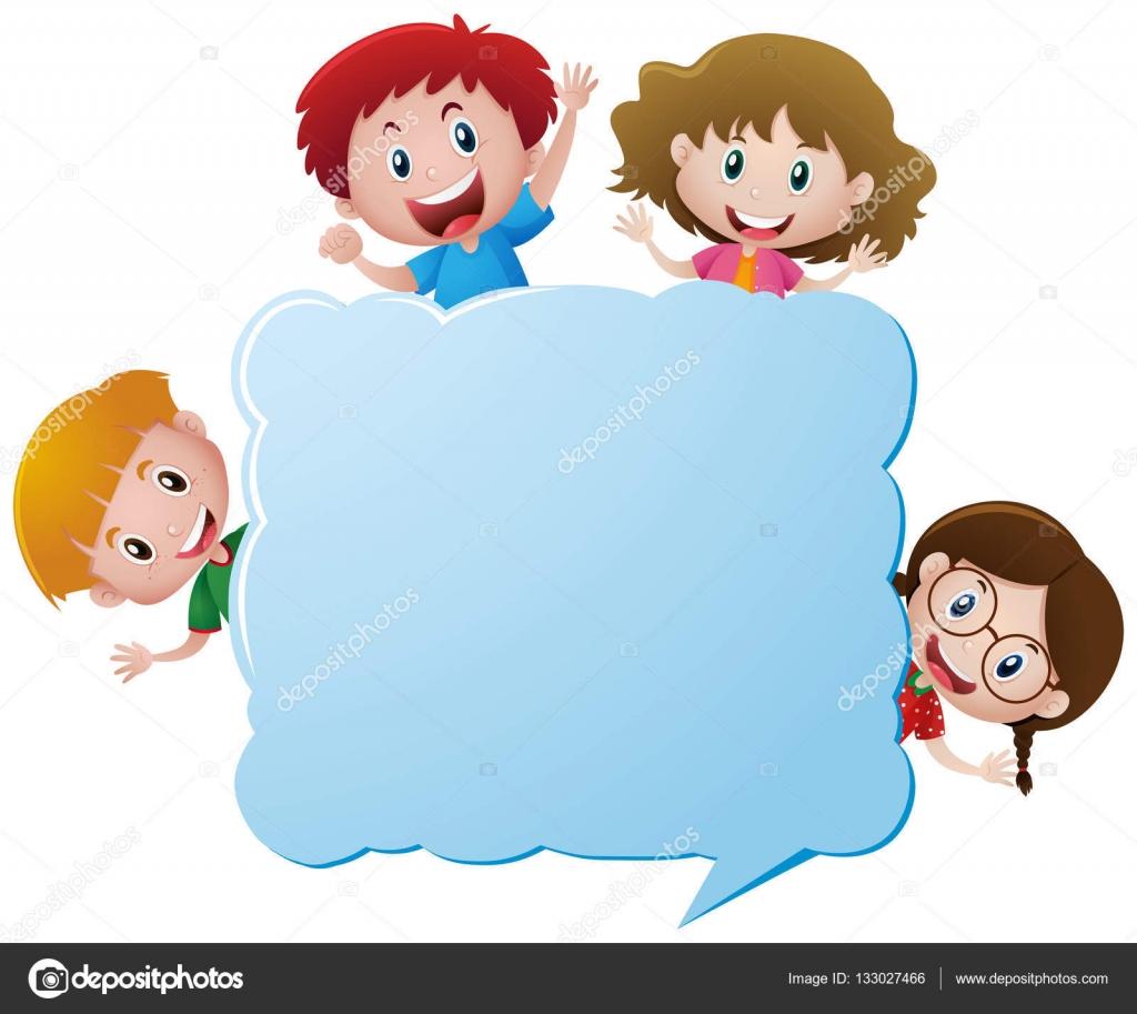 Grenze-Vorlage mit vier Kindern — Stockvektor © brgfx #133027466