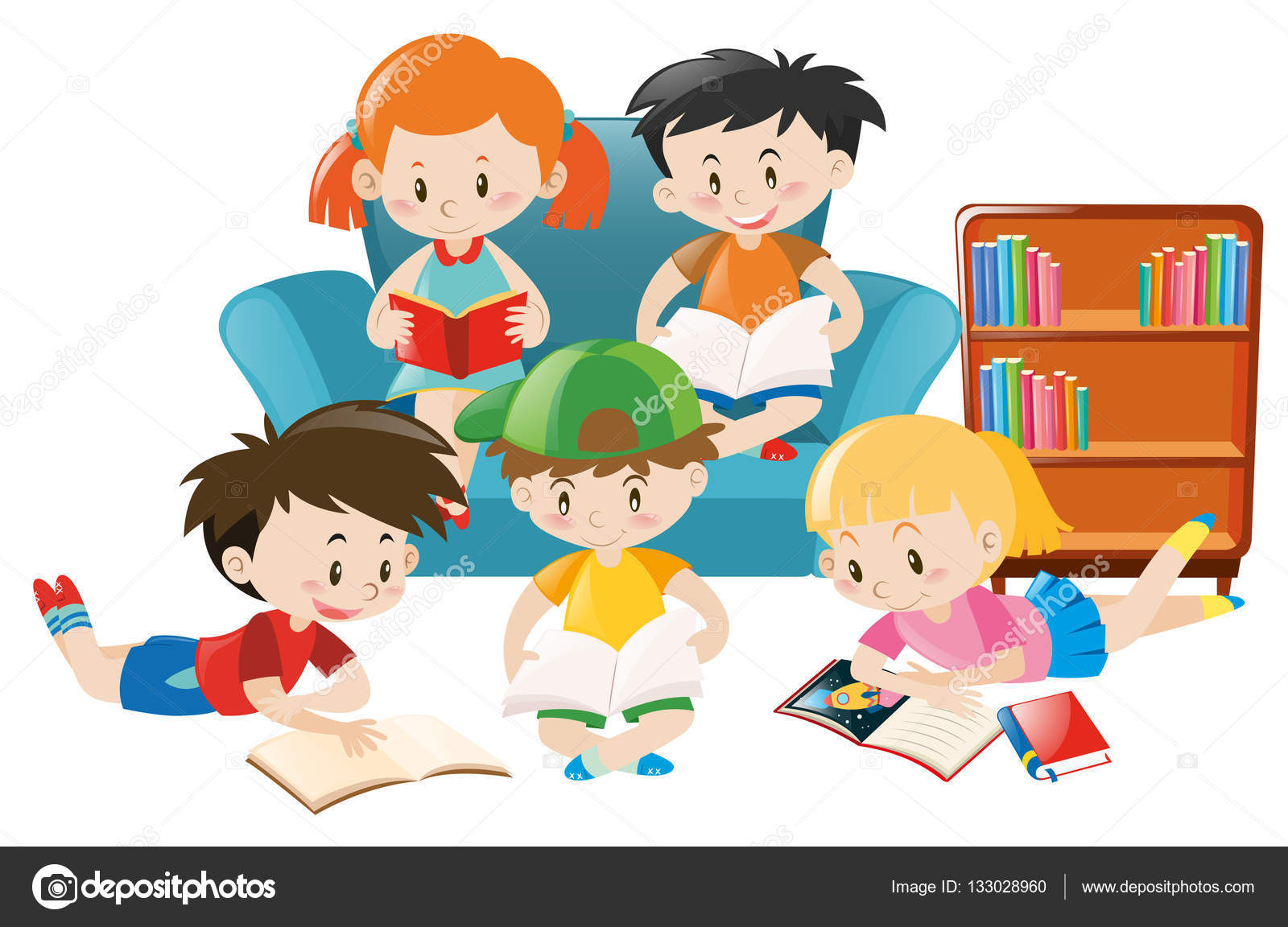 ni u00f1os leyendo libros en la sala de vector de stock Teacher Reading Clip Art Teacher Reading Clip Art
