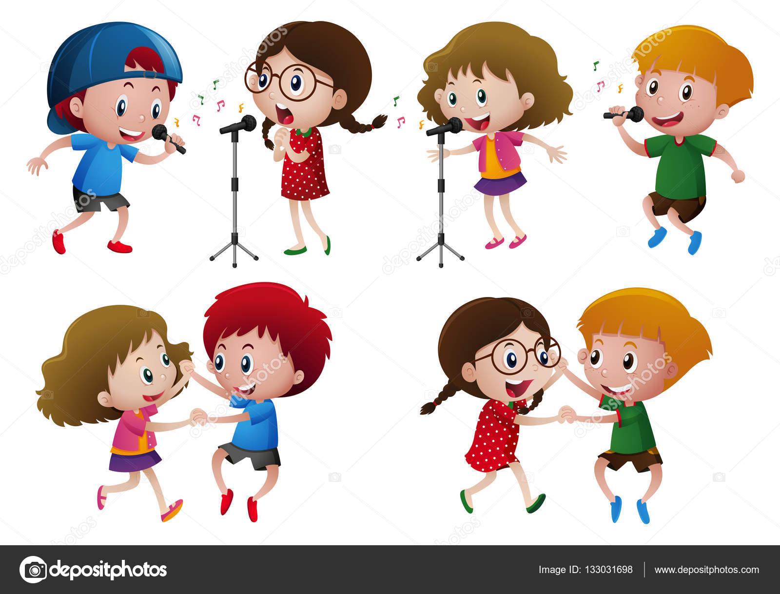 Niños Y Niñas Cantando Y