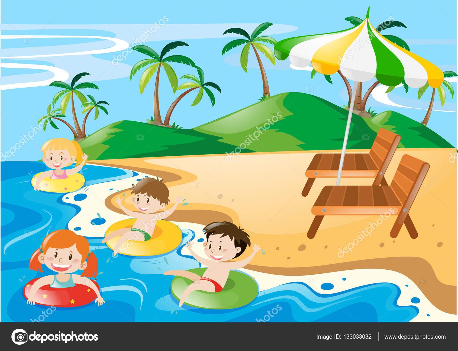 Gündüz, okyanusta yüzmeye çocuklar — Stok Vektör © brgfx ...