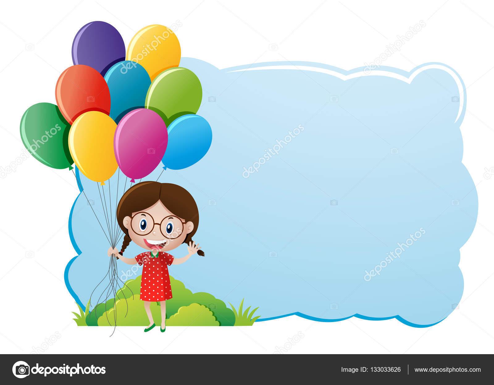 Grenze-Vorlage mit Mädchen und Luftballons — Stockvektor © brgfx ...