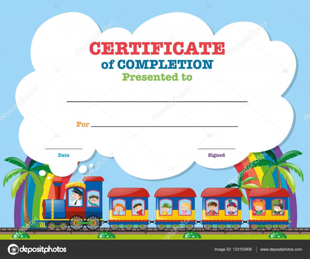 Auszustellende Zertifikatvorlage mit Kindern im Zug — Stockvektor ...