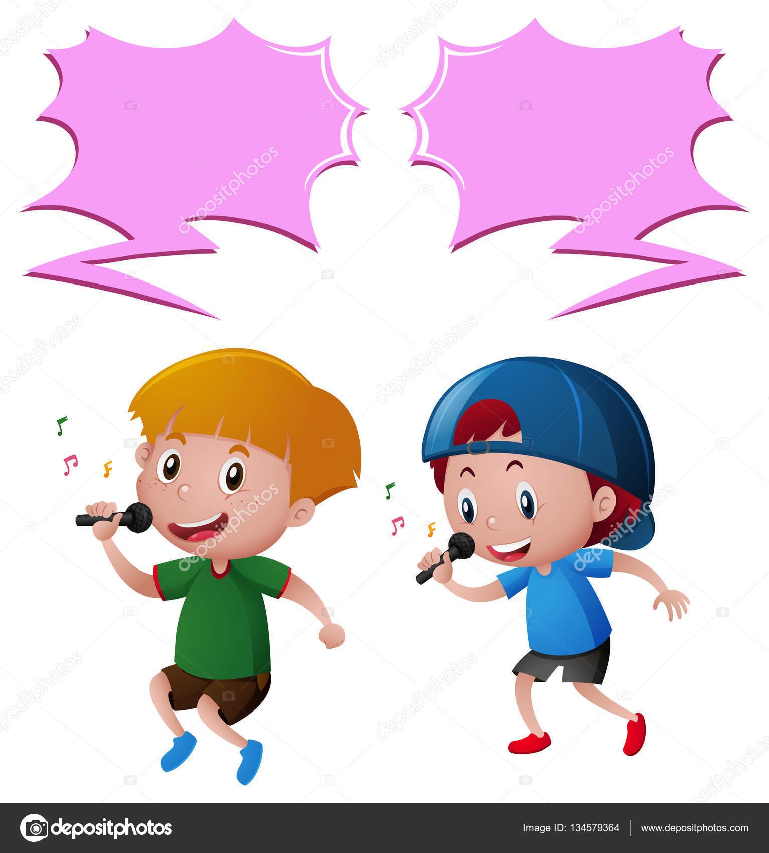 マイクで歌を歌っている 2 人の男の子 ストックベクター Brgfx