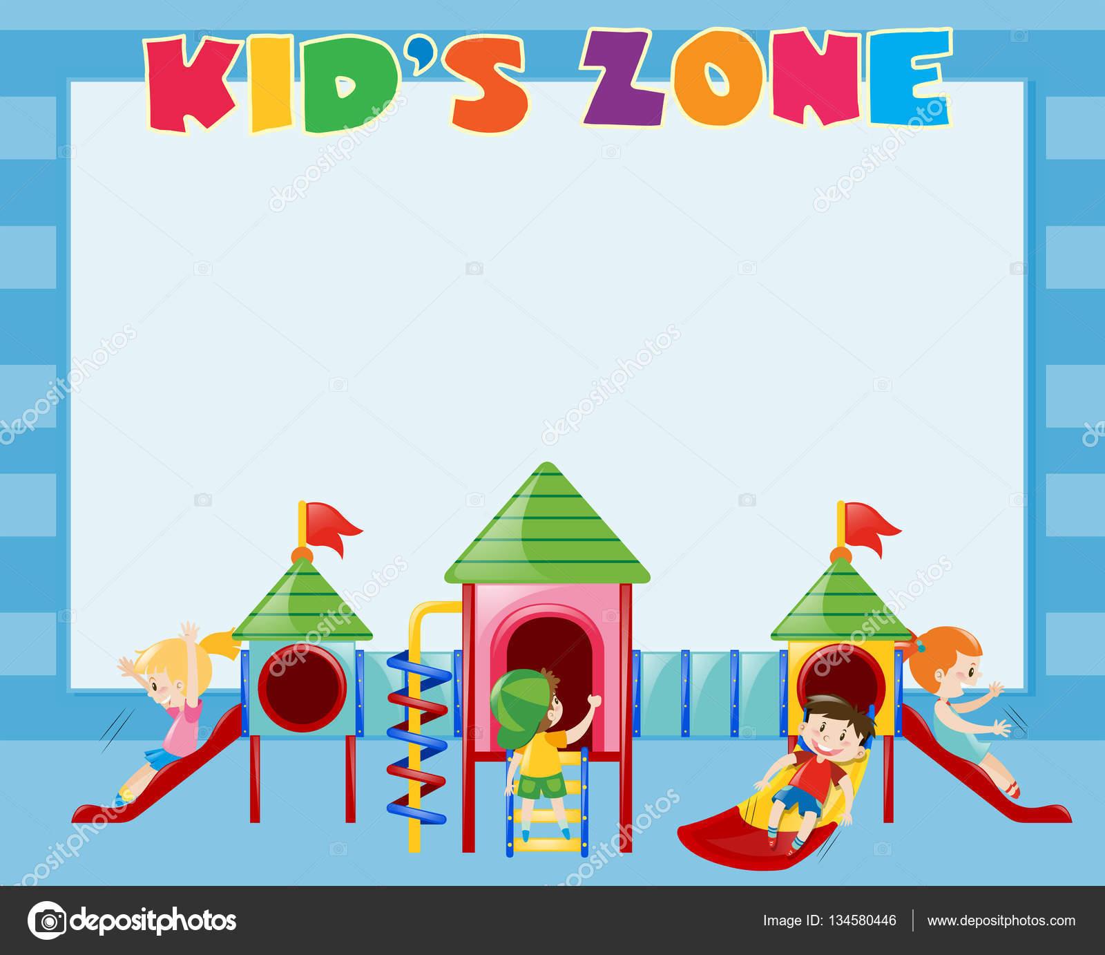Plantilla de frontera con los niños jugar en la diapositiva — Vector ...