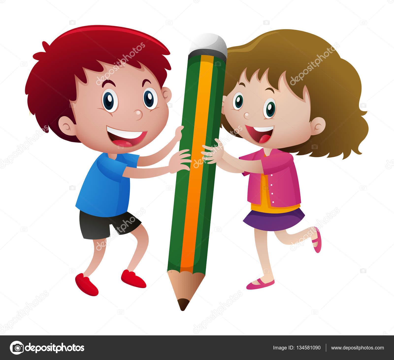 Niños escribiendo con lápiz grande — Vector de stock © brgfx #134581090