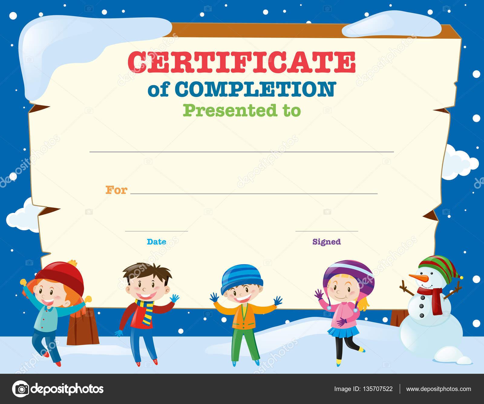 Zertifikat-Vorlage mit Kindern im Schnee — Stockvektor © brgfx ...