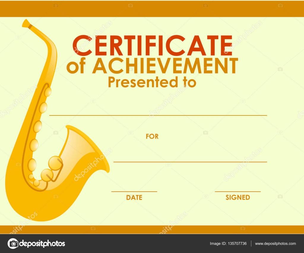 Zertifikat-Vorlage mit goldenen Saxophon — Stockvektor © brgfx ...