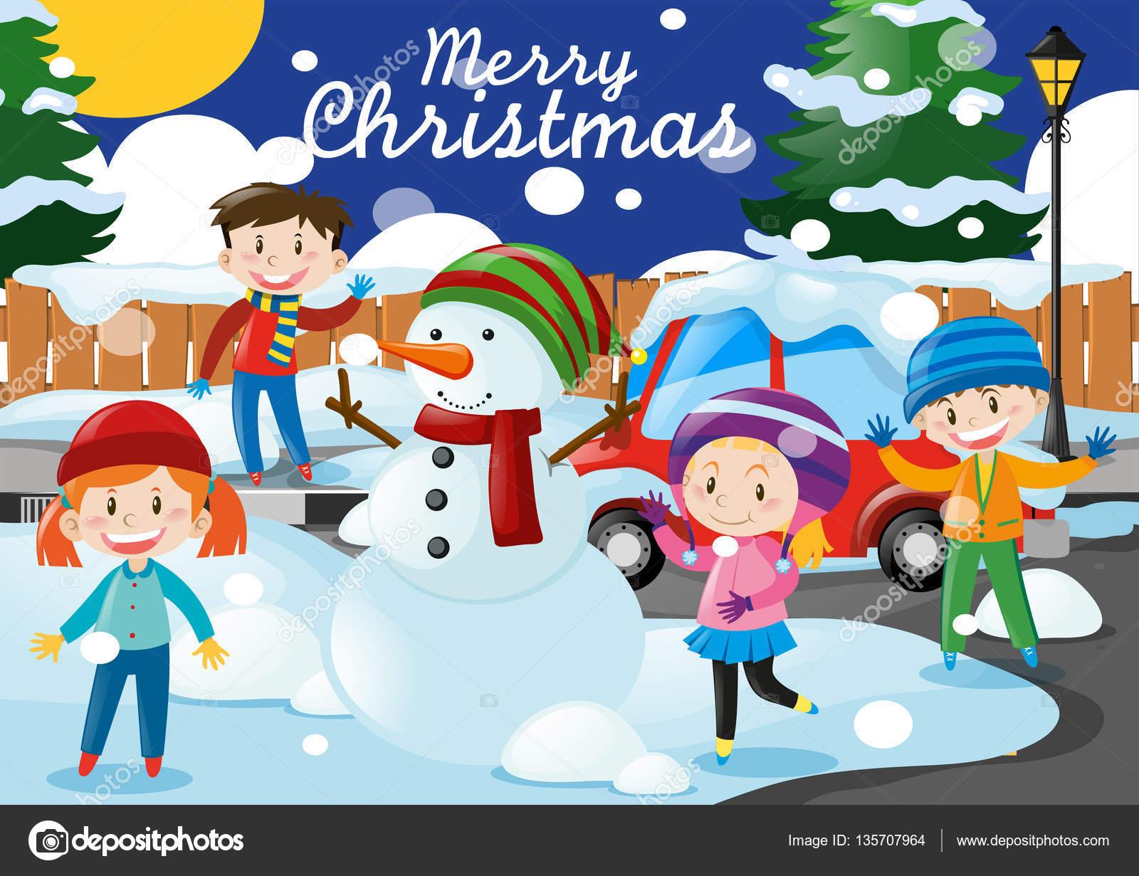 Thema Weihnachten mit Kinder und Schneemann im Dorf — Stockvektor ...