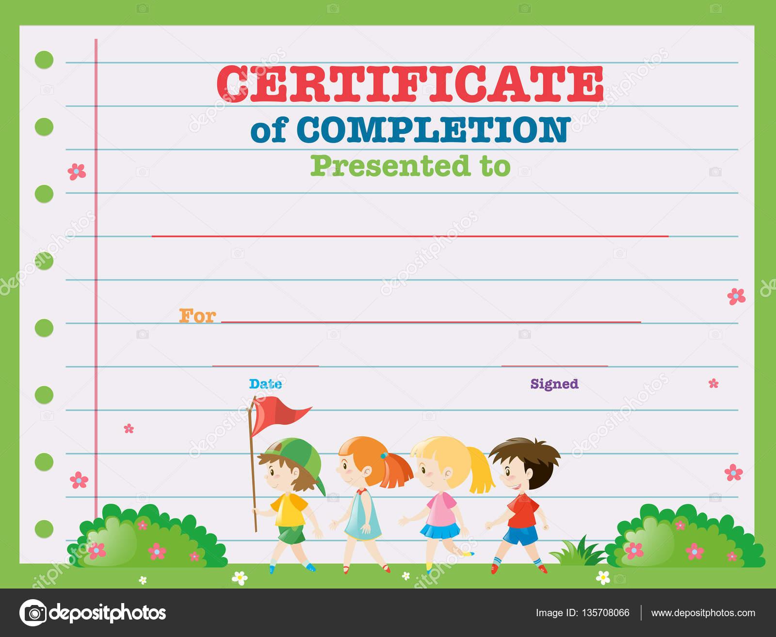 Zertifikat-Vorlage mit Kindern im Park spazieren — Stockvektor ...