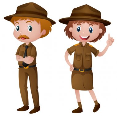 Two park rangers in brown uniform illustration stock vector