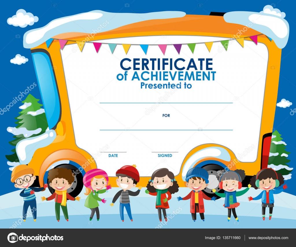 Zertifikat-Vorlage mit Kindern im winter — Stockvektor © brgfx ...