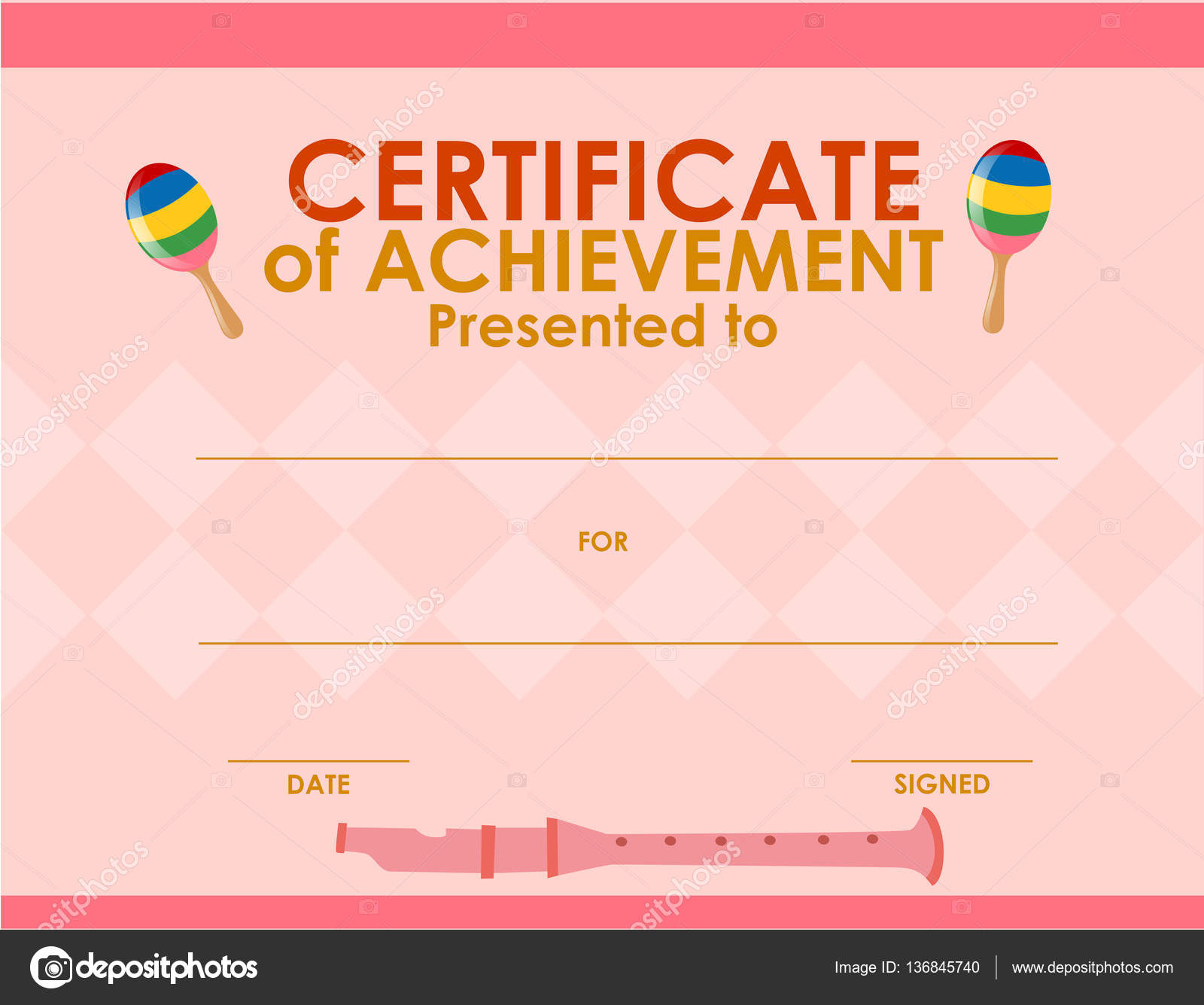 Zertifikat-Vorlage mit rosa Hintergrund — Stockvektor © brgfx #136845740