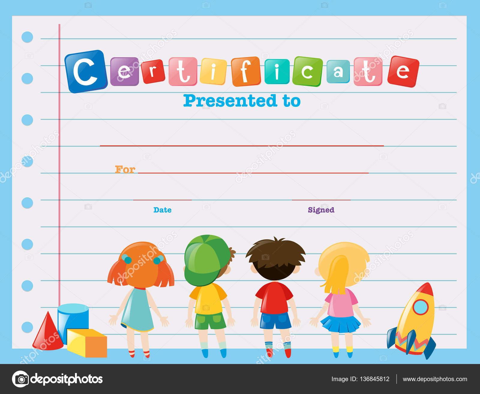Zertifikat-Vorlage mit Kindern — Stockvektor © brgfx #136845812