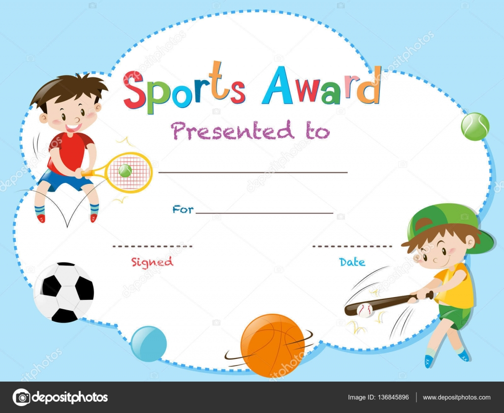 Certificate template with two boys playing sports stock vector certificate template with two boys playing sports illustration vector by brgfx alramifo Image collections