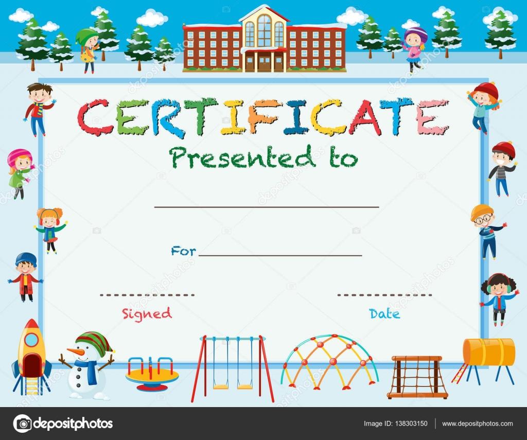 Zertifikat-Vorlage mit Kindern im Winter in der Schule — Stockvektor ...