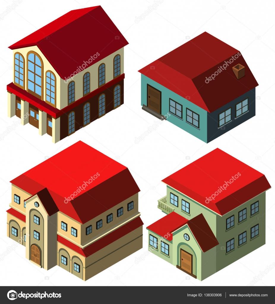 3D Design für verschiedene Arten von Häusern — Stockvektor © brgfx ...