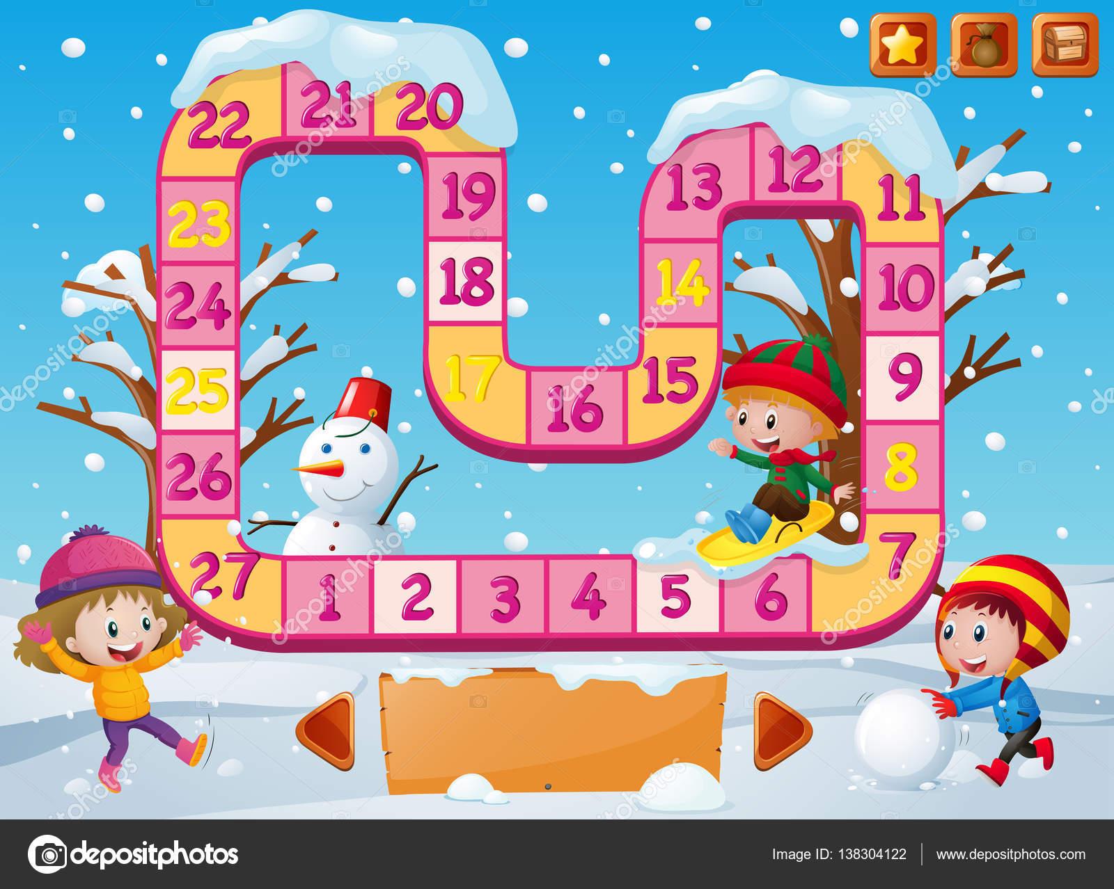 Brettspiel Vorlage mit Kindern beim Spielen im Schnee — Stockvektor ...