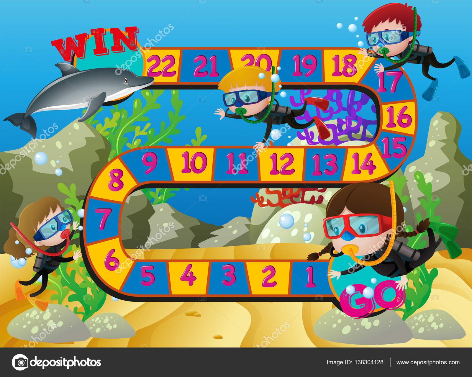 Brettspiel Vorlage mit Kindern schwimmen unter dem Meer ...