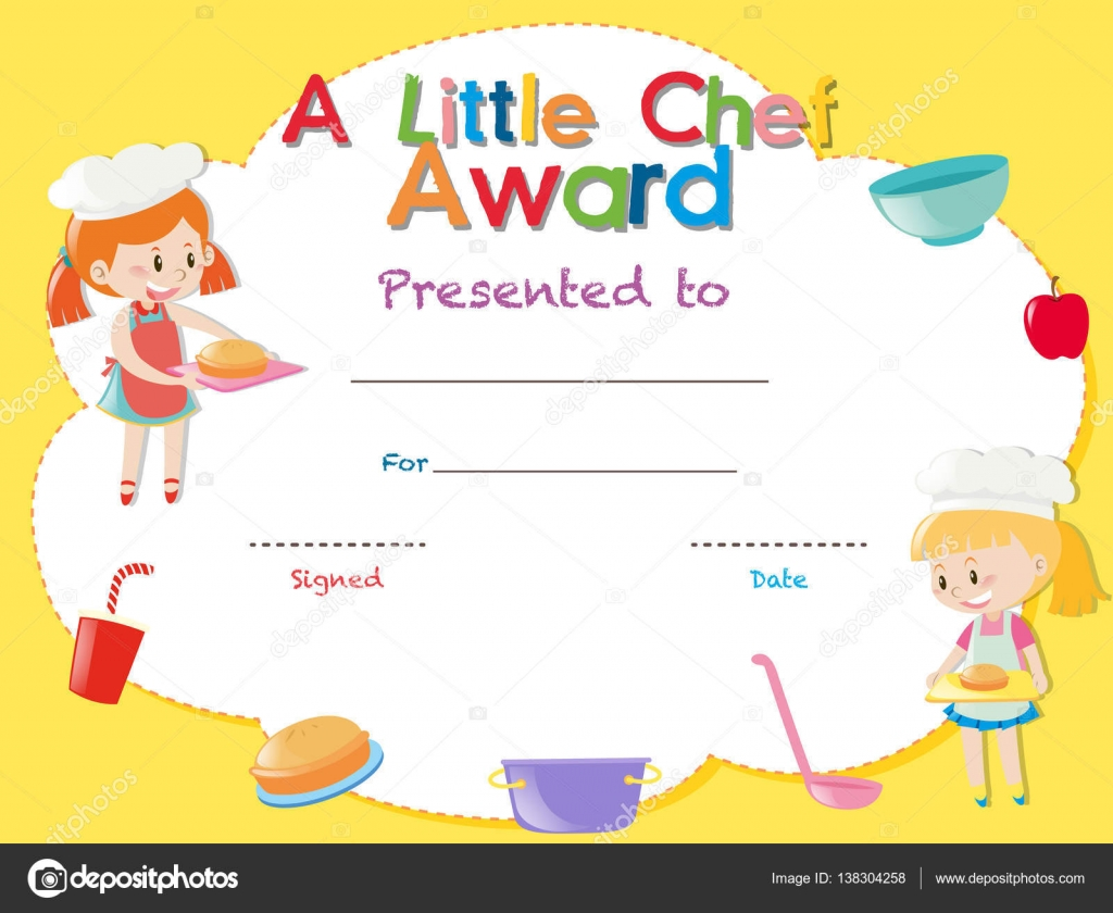 Cooking Certificate Template Stunning Certificate Template With Kids Cooking — Stock Vector © Brgfx .