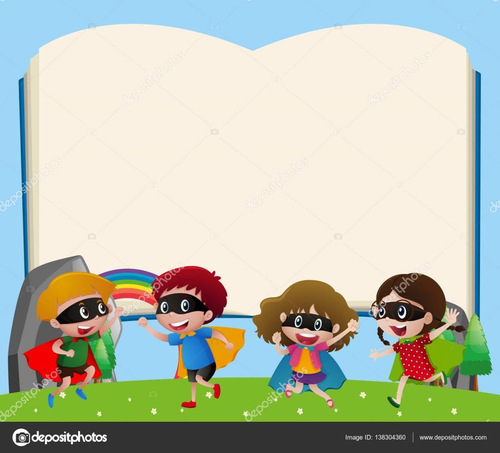Grenze-Vorlage mit Kindern Hero spielen — Stockvektor © brgfx ...