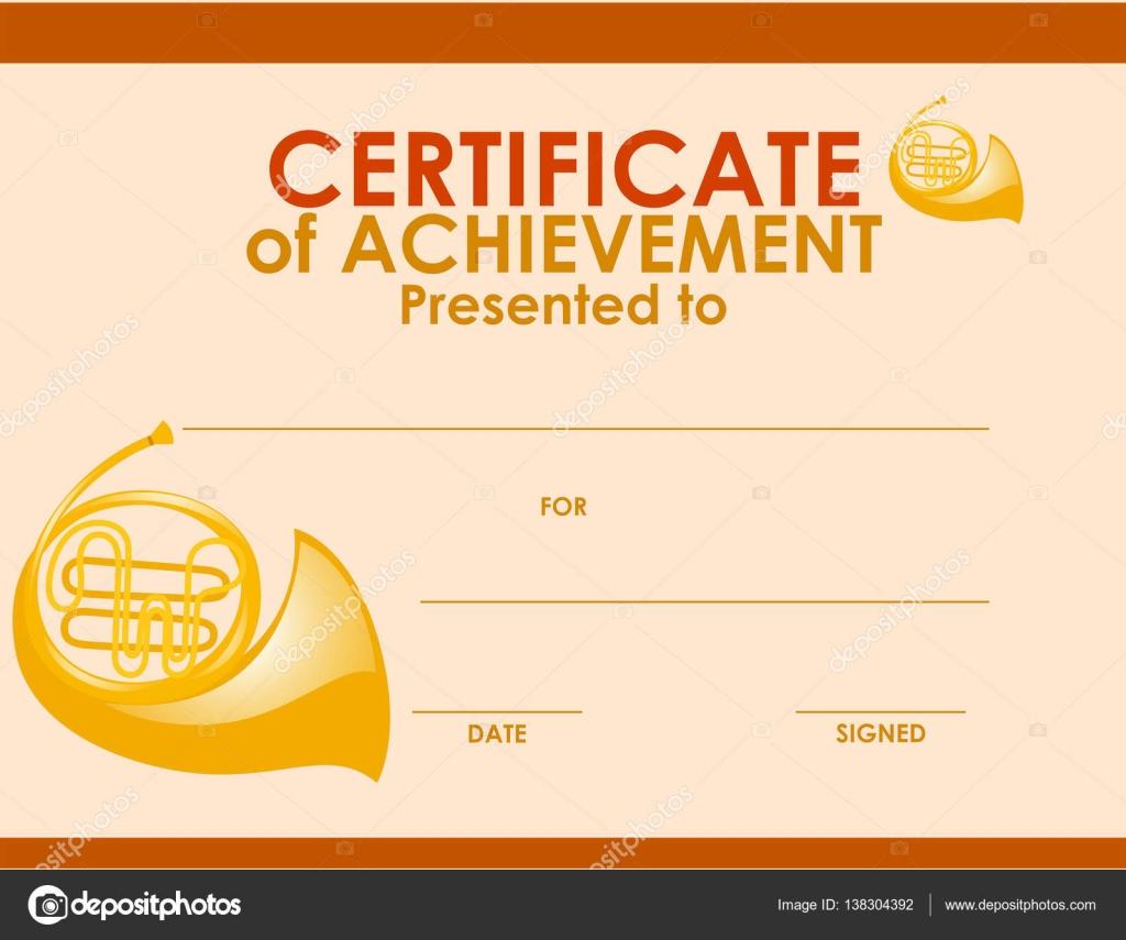 Zertifikat-Vorlage mit Waldhorn — Stockvektor © brgfx #138304392