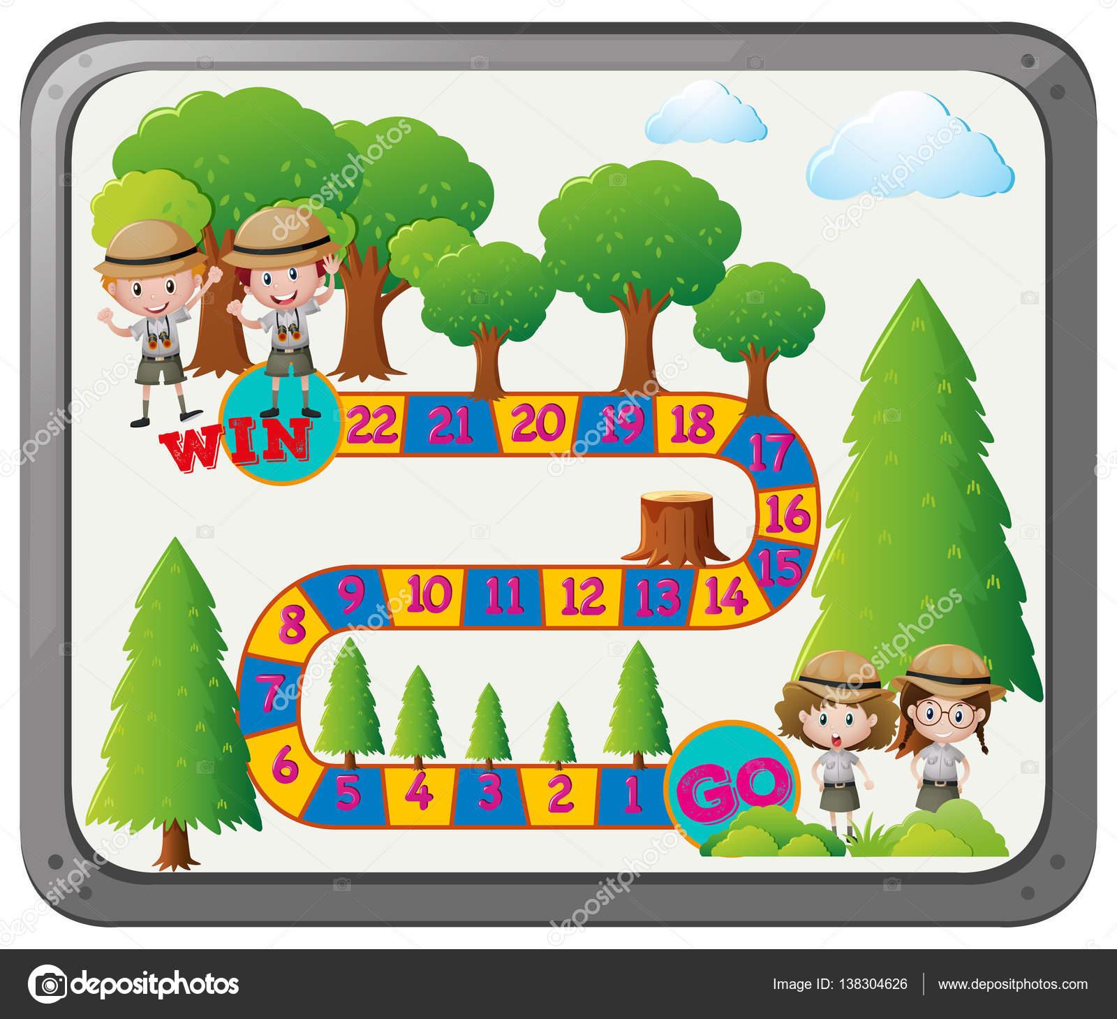 Brettspiel Vorlage mit Kindern in Safari outfit — Stockvektor ...