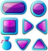 Různé tvary tlačítek v modré a fialové